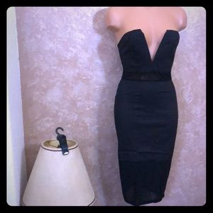 NWT Sexy mesh cut out Strapless Deep V Line Dress